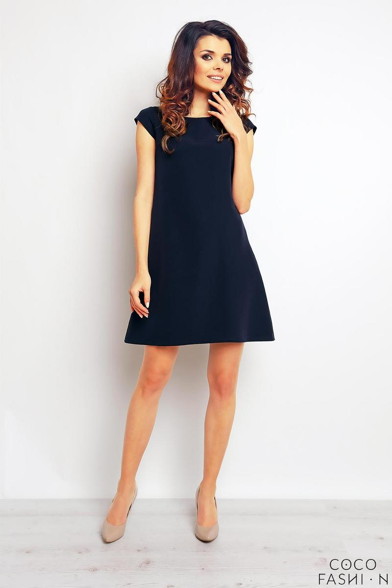 Dark Blue Flared Mini Dress