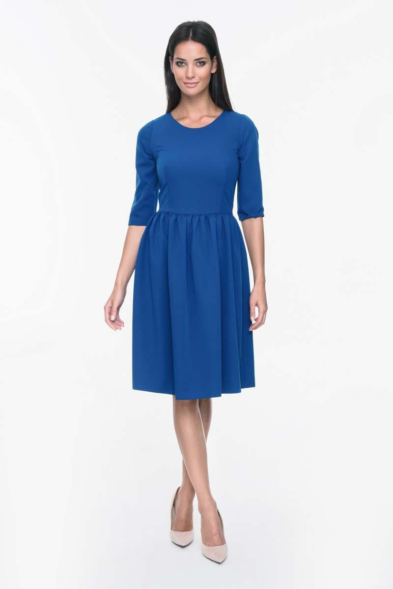 Blue Office Style Flared Dress