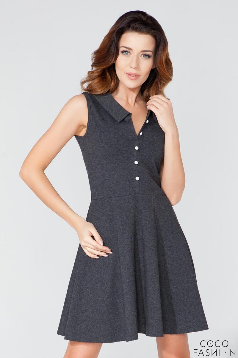 Dark Grey Buttons Closure Casual Shirt Dress