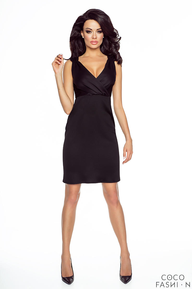 Black Wrap Design Neckline Evening Mini Dress
