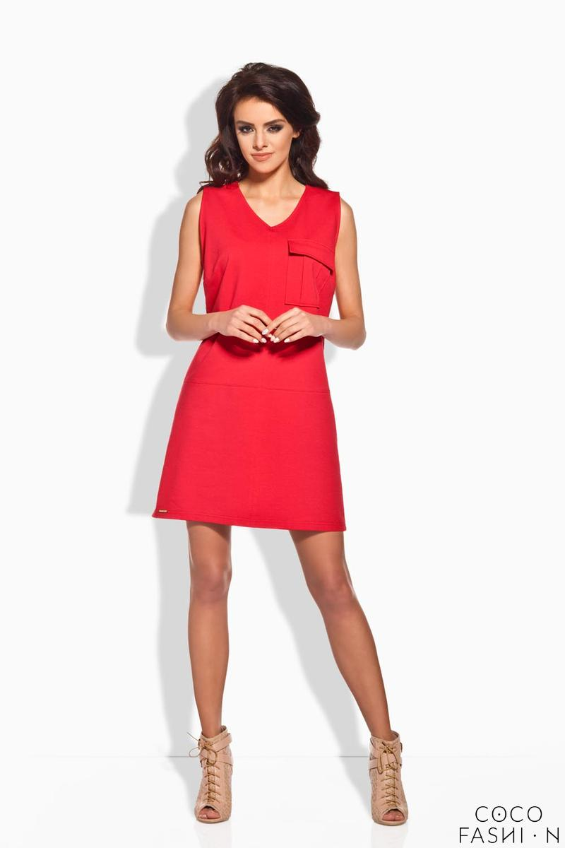 Red Sporty Casual Style Dress With Pocket