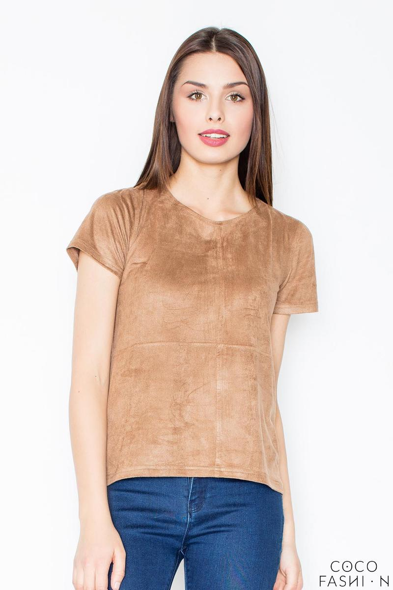 Brown Suede T-shirt with Zip at The Back