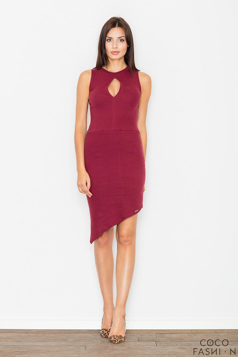 Maroon Asymetrical Bodycon Dress