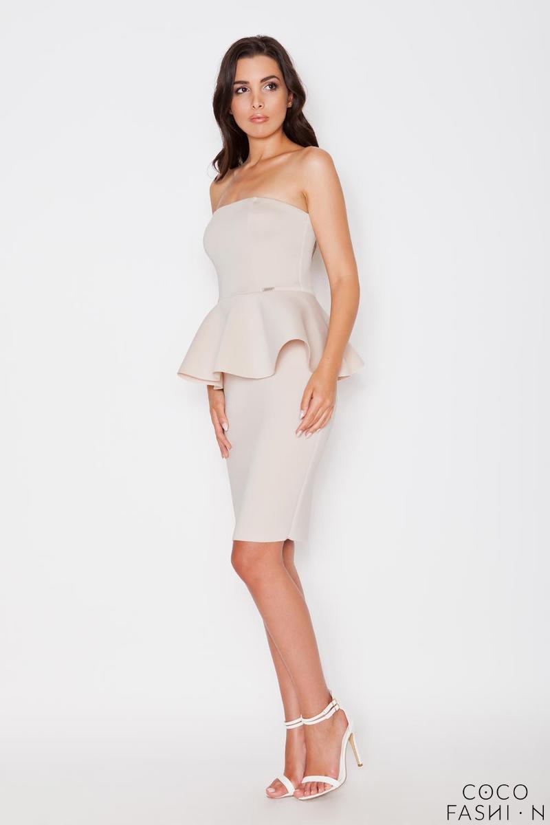 beige-bandeau-neckline-peplum-waist-coctail-dress