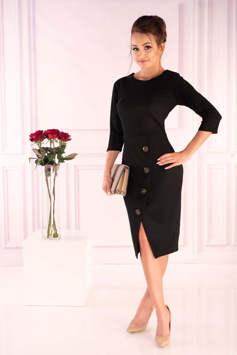Black Knitted Fitted Dress with Buttons