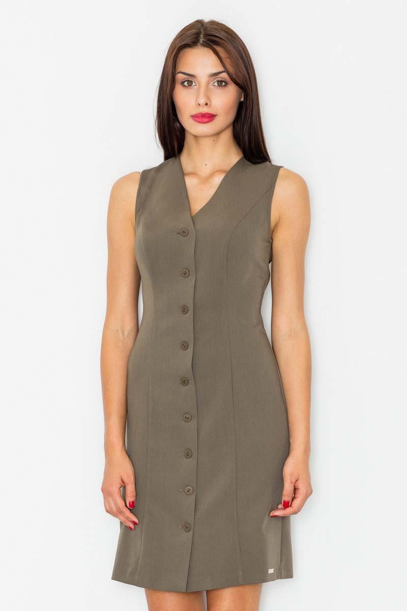 Olive Green Buttons Down Mini Dress
