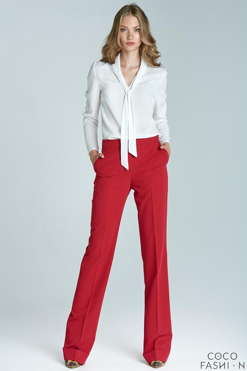 Red High Waist Design Elegant Long Trousers