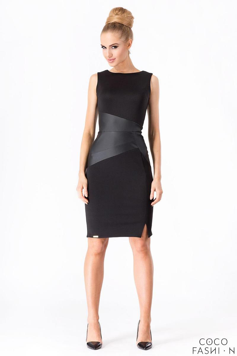 Black Elegant Dress with SLimming Leather Pannel
