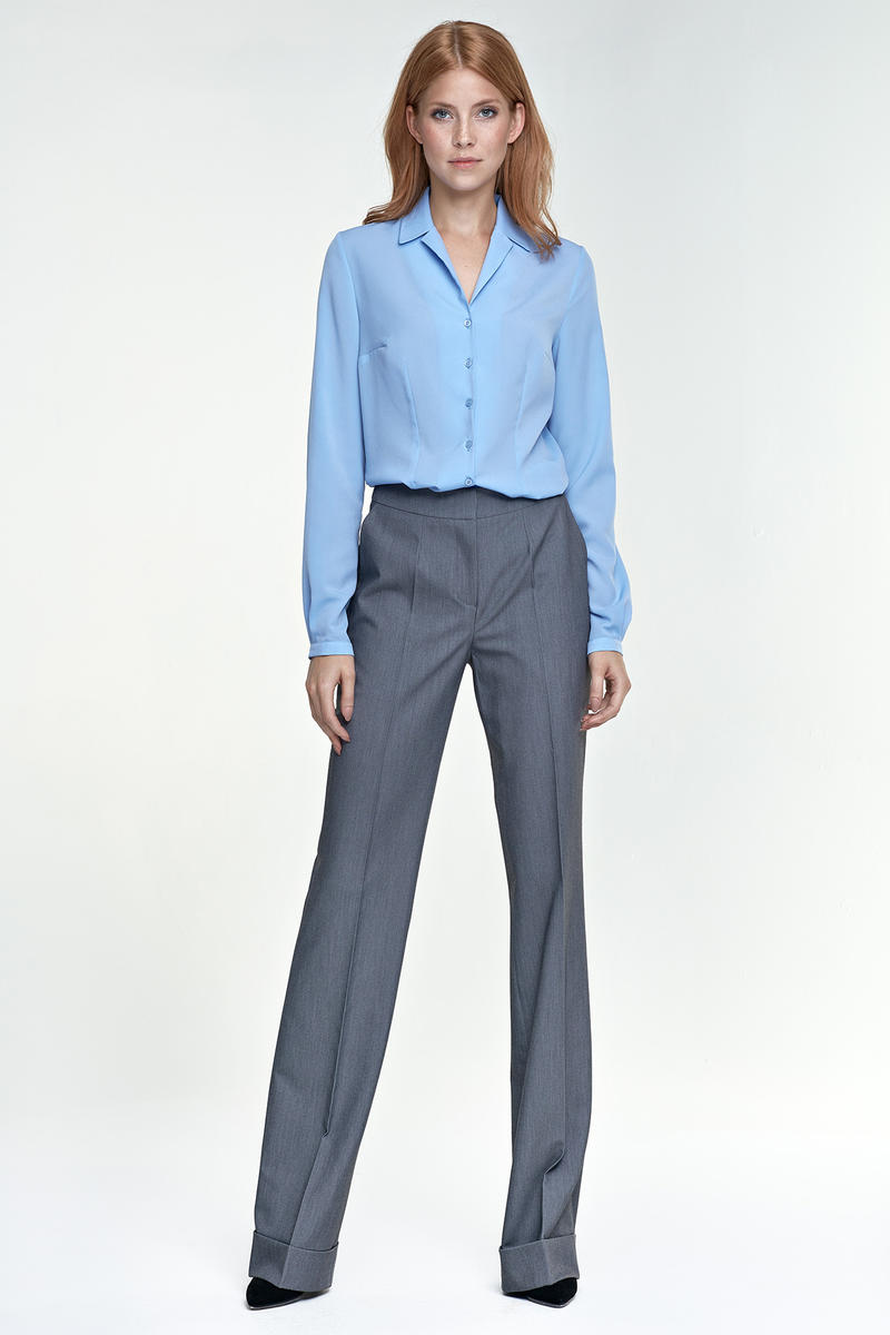 Grey Elegant Office Style Pants