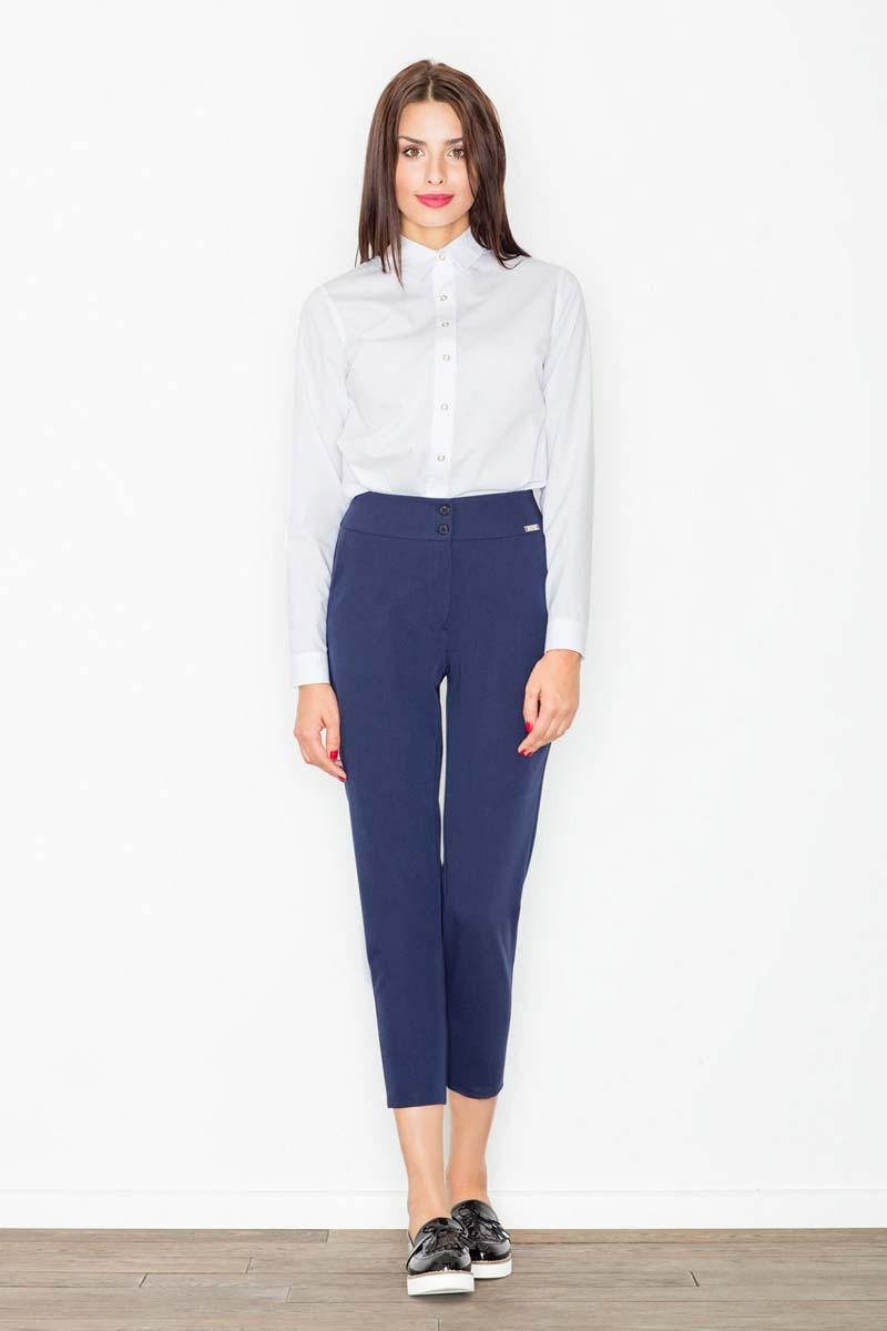 Dark Blue High Waist Cigarette Pants