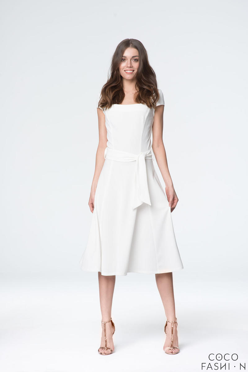 Ecru Elegant Short Sleeves Self Tie Belt Midi Dress от cocofashion