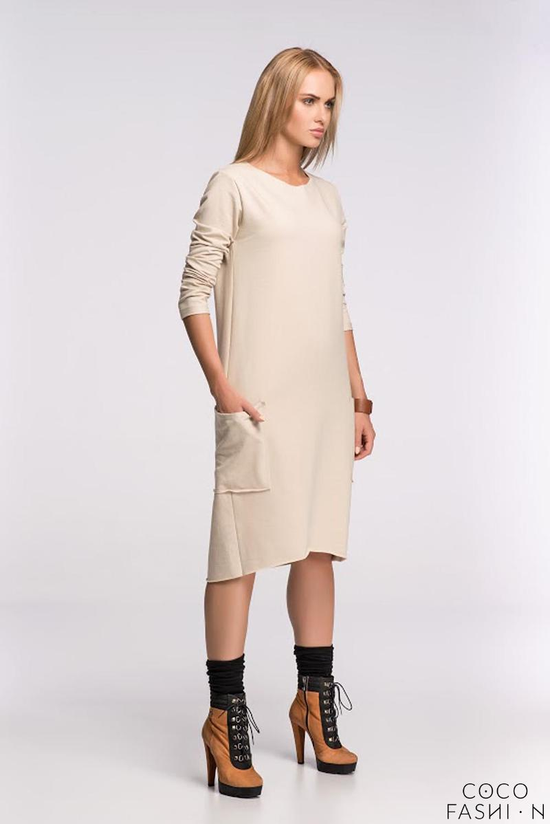 Beige Asymetrical Casual Dress with Front Pockets