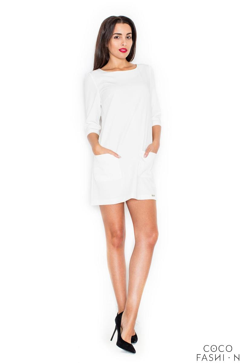 Ecru A-Line 3/4 SLeeves Mini Dress with Pockets