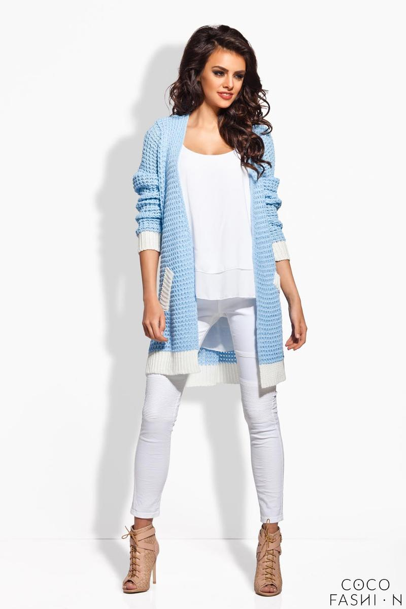 Light Blue Long Cardigan with Contrasting Details