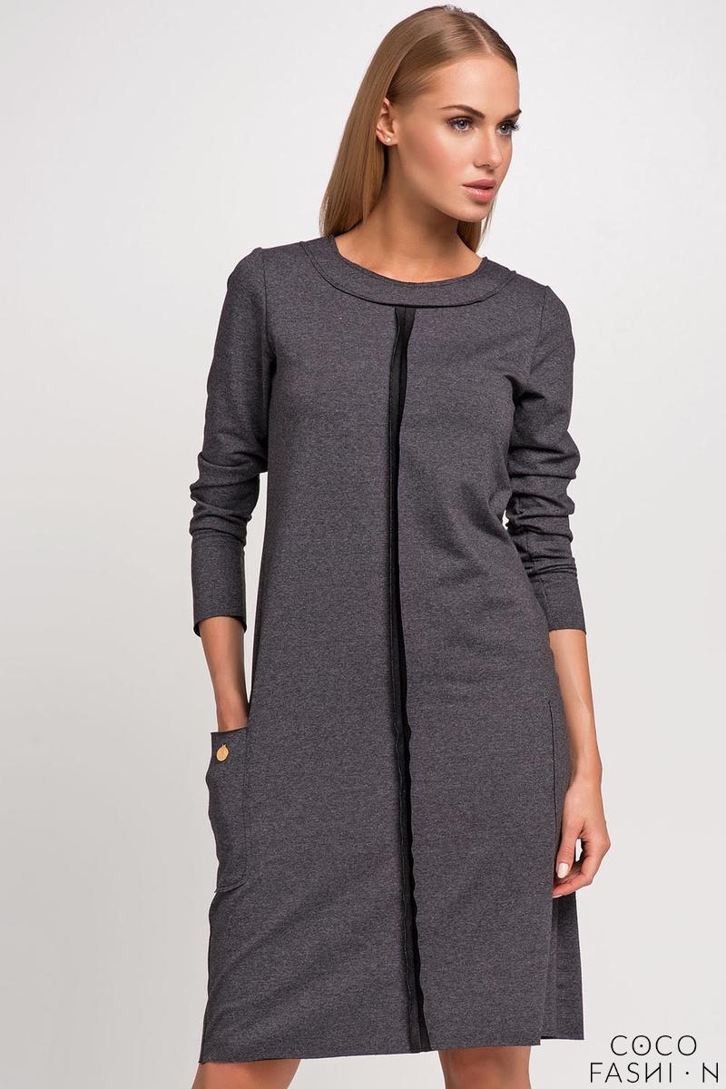 Dark Grey Round Neckline Casual Dress