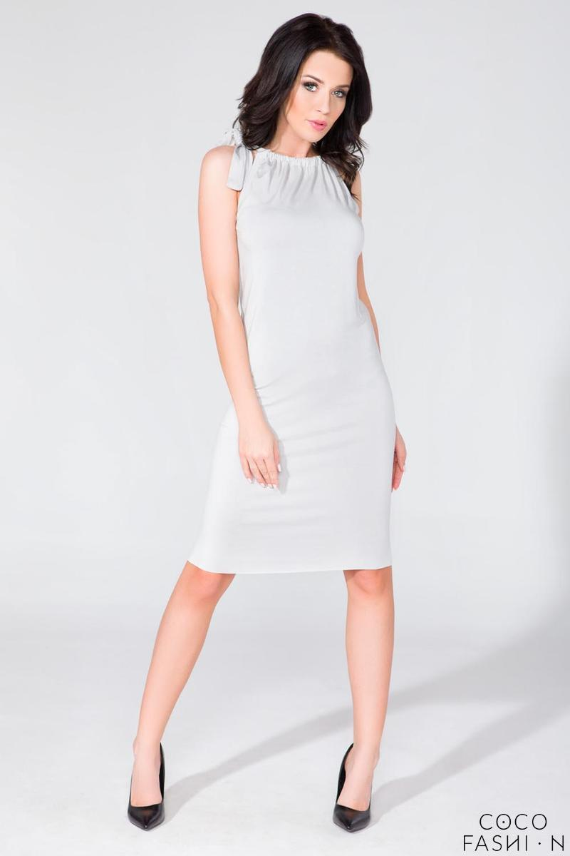 Light Grey Fitted Summer Wrinkled Neckline Dress