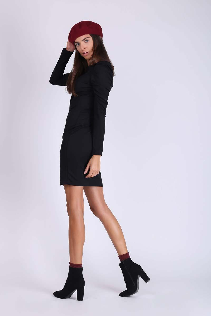 Black Pencil Dress with Draped Sleeve