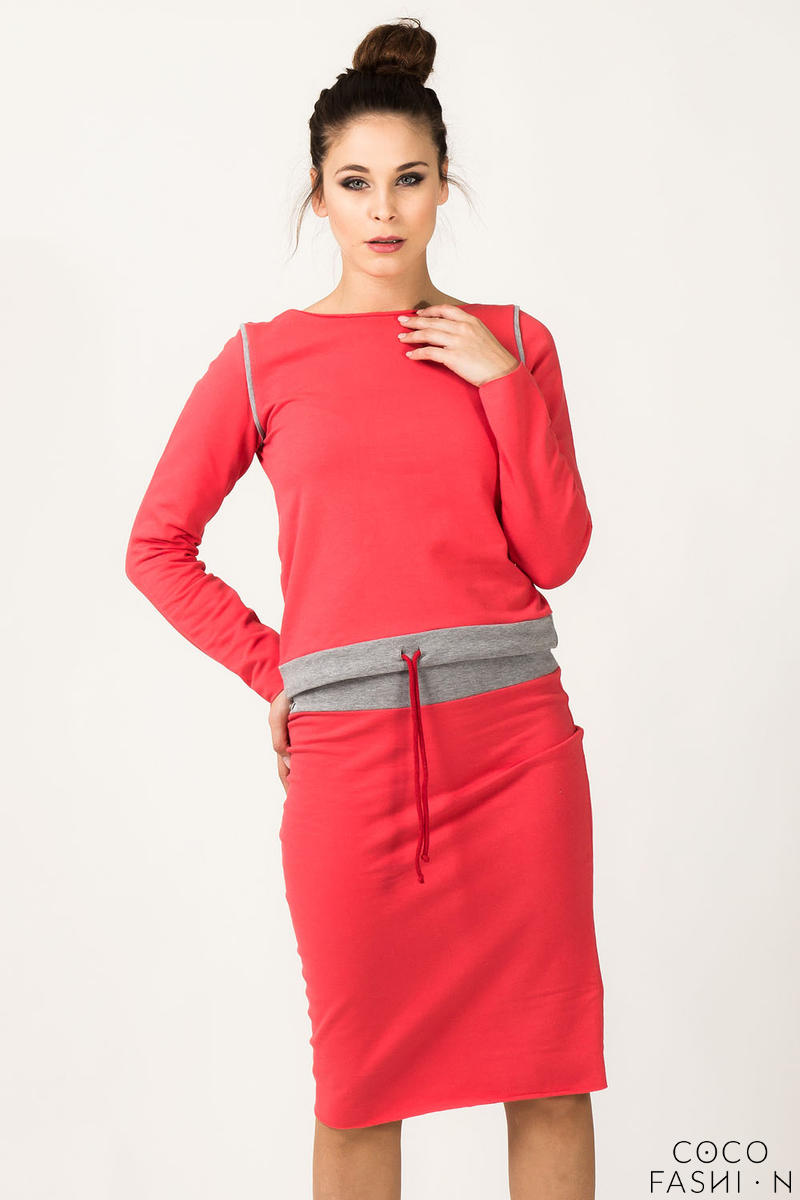 Coral Long Sleeve Sweater With Grey Piping