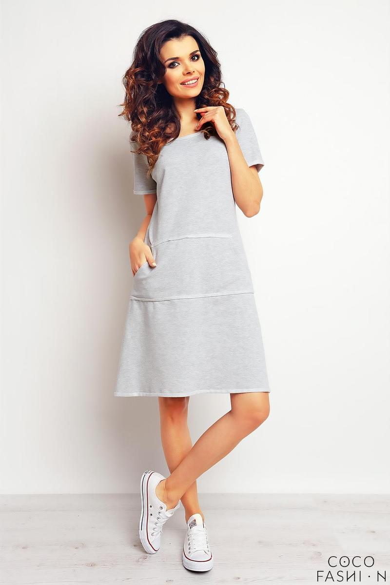 Grey Sport Style Dress with Pockets