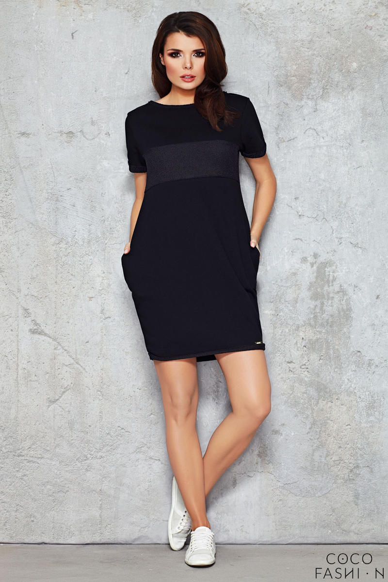 Black Shift Dress with Silky Bust Panel от cocofashion