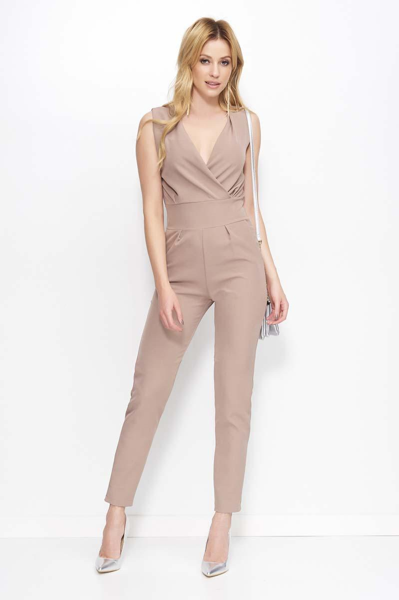 Cappuccino Sleeveless V-Neck Jumpsuit