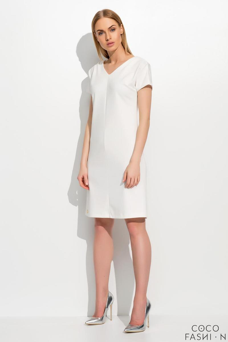 Ecru Short Sleeves Plain Dress