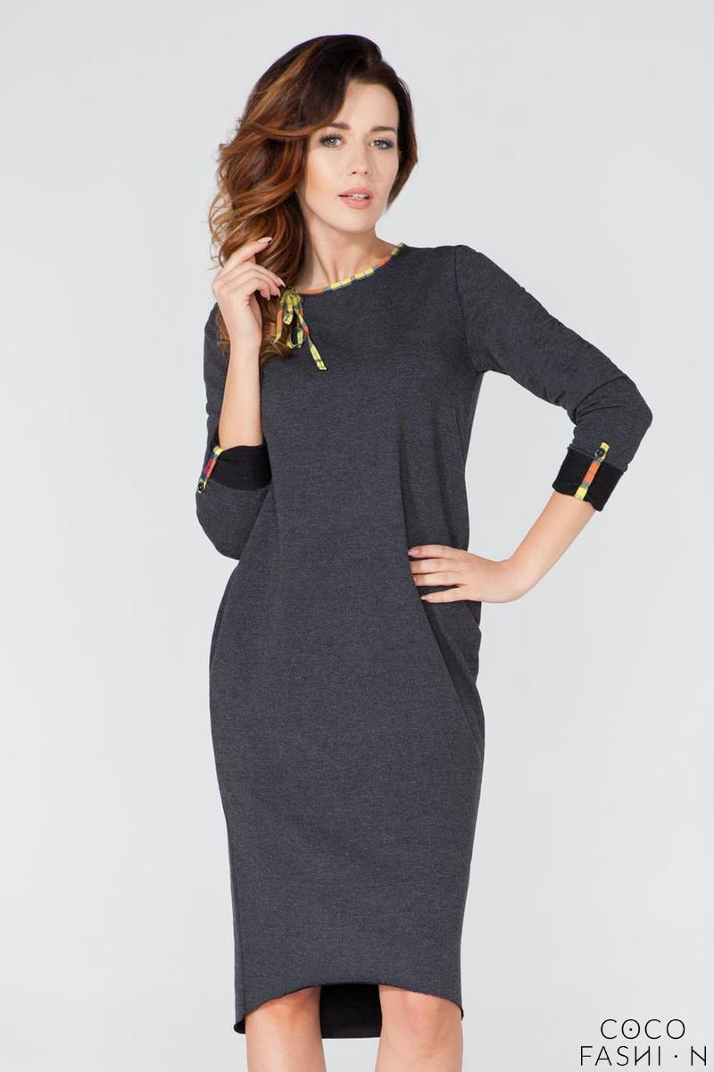 Dark Grey Casual 3/4 Sleeves Dress with Colorful Piping