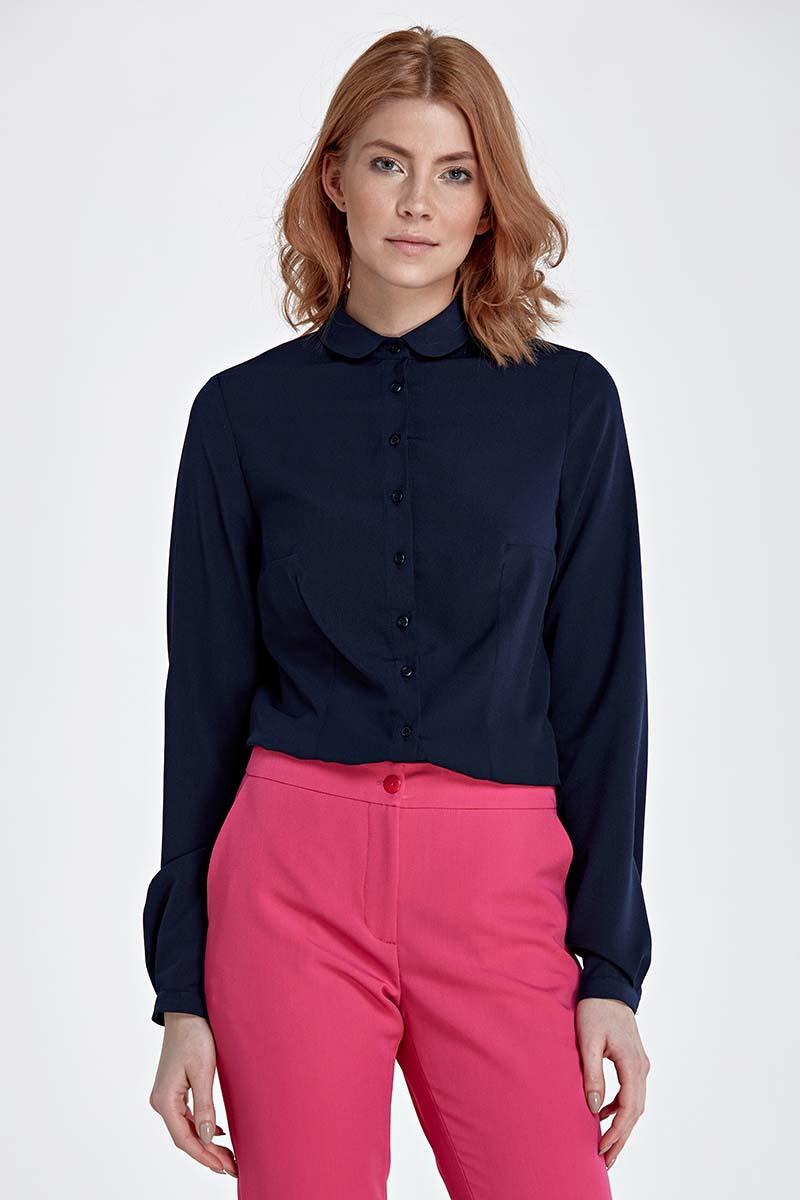 Dark Blue Long Sleeved Shirt with Round Collar