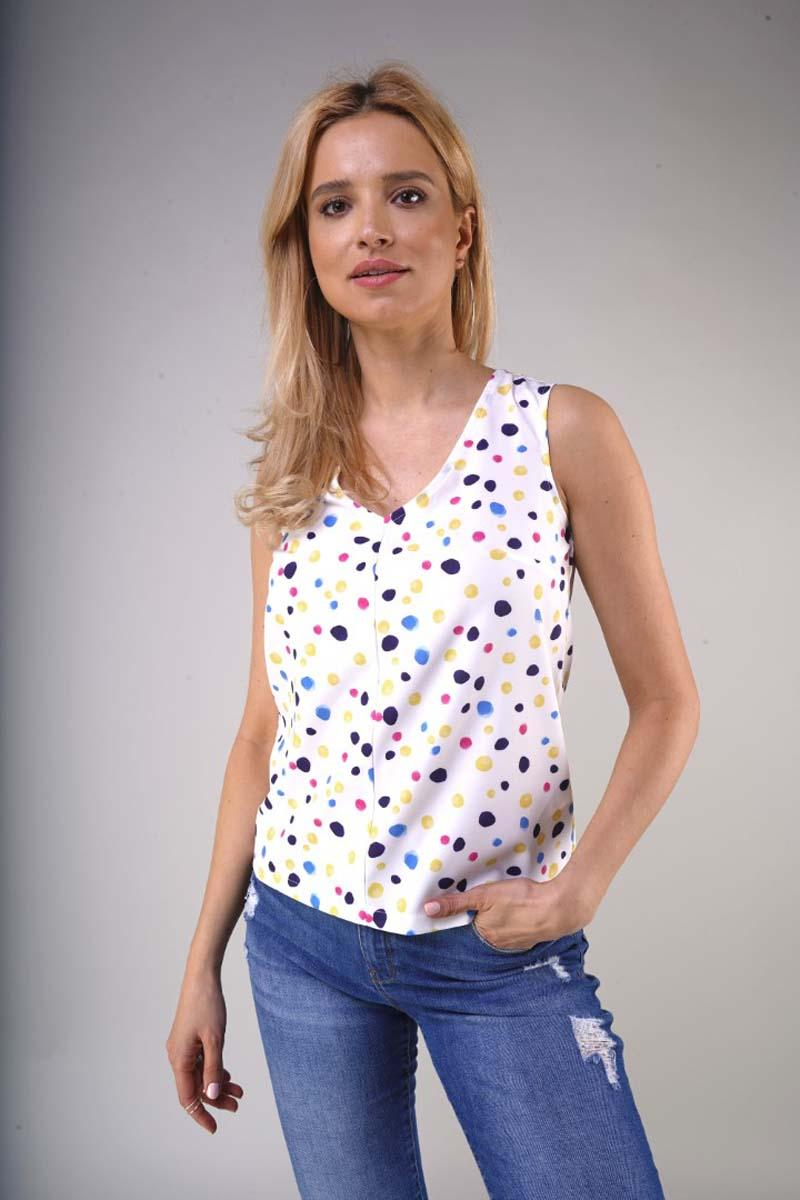 Sleeveless blouse with a V-neck - Colorful spots