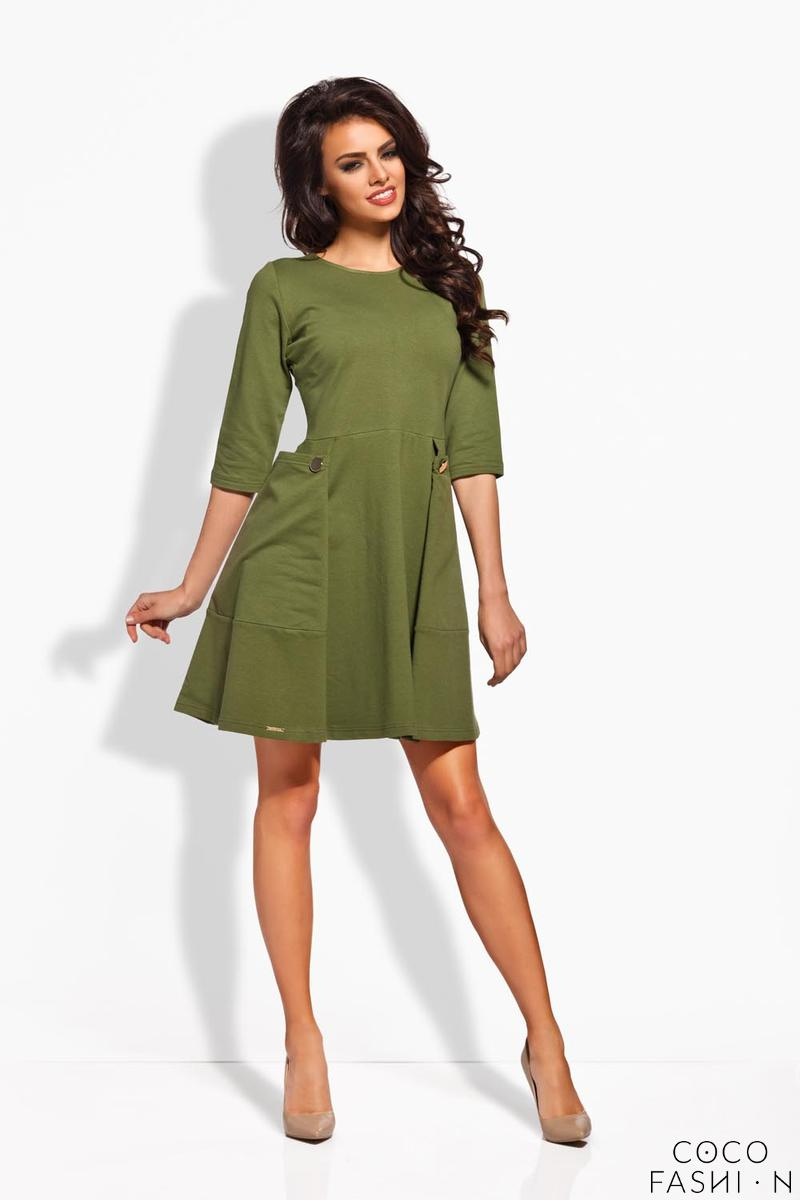 Khaki Delicate Pleats Big Pockets Dress