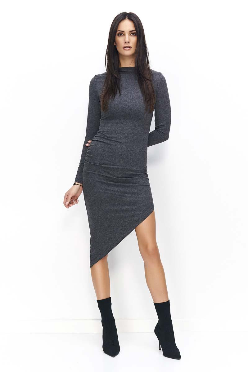 Dark Grey Asymetrical Bodycon Dress