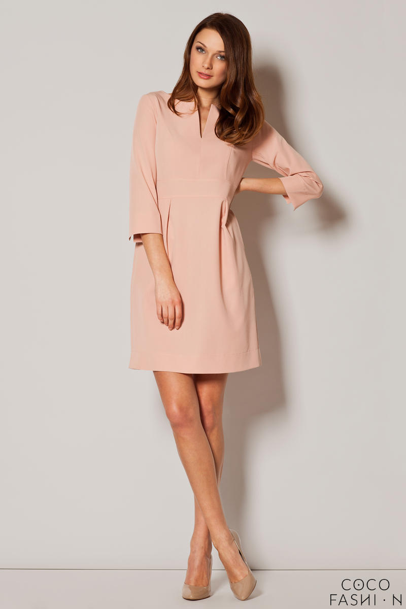 Dirty Pink Slit Neckline Pleated Midi Length Dress
