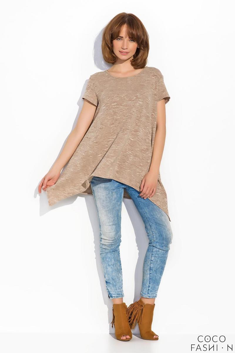 Beige Asymetrical Long Casual Blouse
