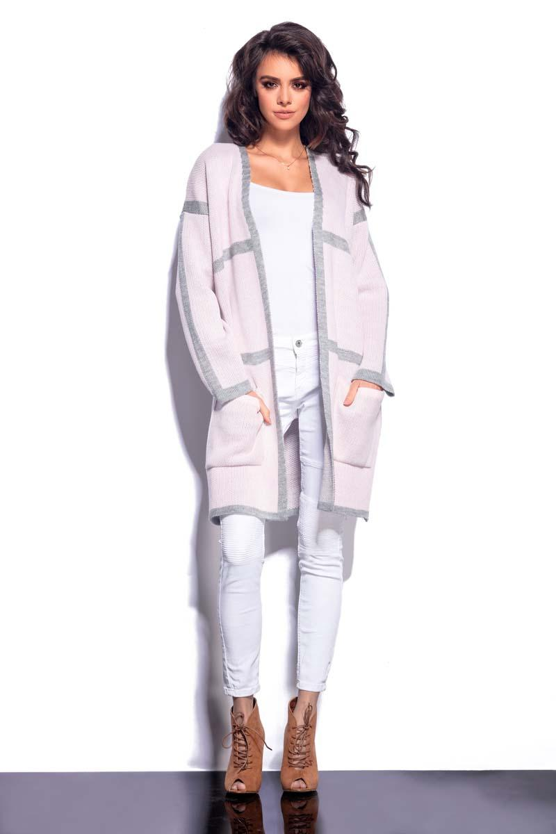 Pink Long Cardigan with Contrasting Piping