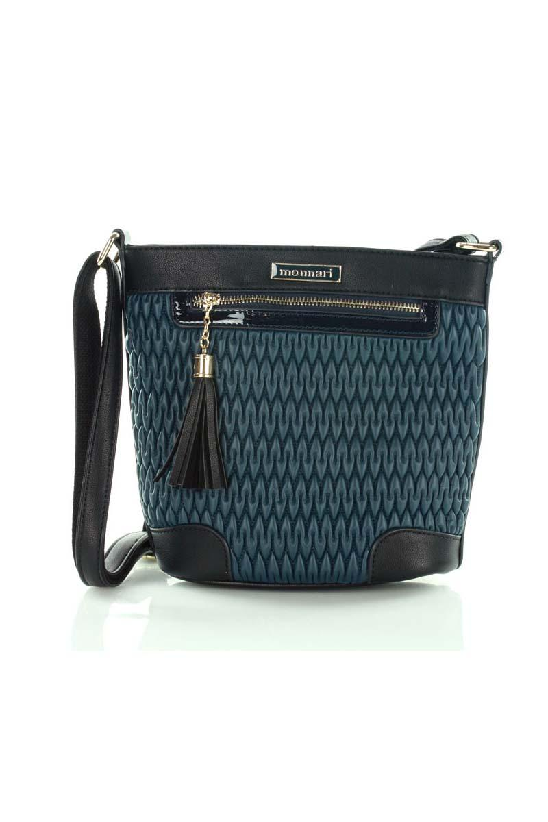 Dark Blue Padded Design Long Strap Bag