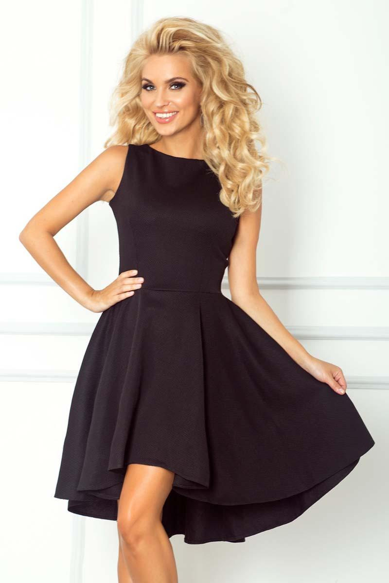 Black Asymetrical Light Pleats Coctail Dress