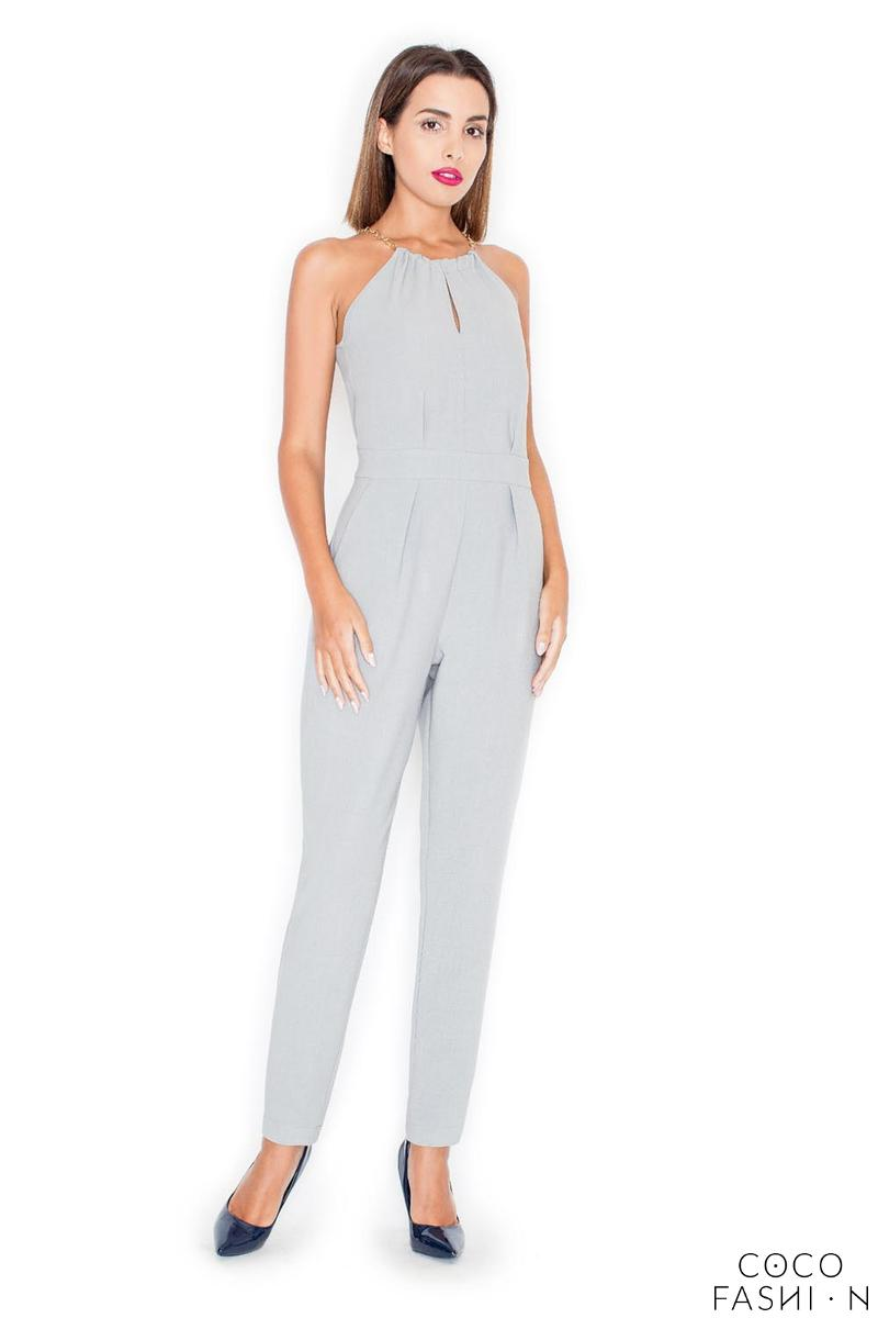 Grey Elegant Chain Halterneck Long Legs Jumpsuit