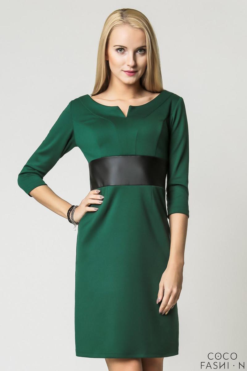 green-elegant-eco-leather-black-waist-office-dress