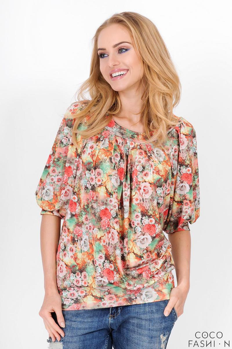 Orange Short Sleeves Floral Pattern Blouse