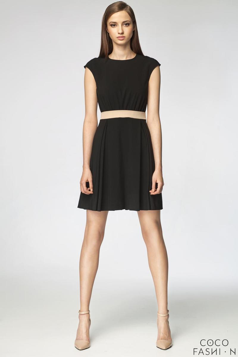 Black Round Neck&Slim Waist Mini Dress