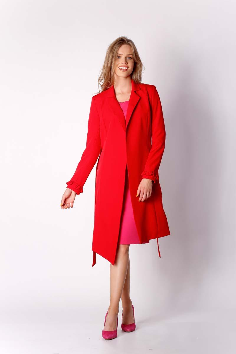 Red Elegant Coat with a frill on the sleeve