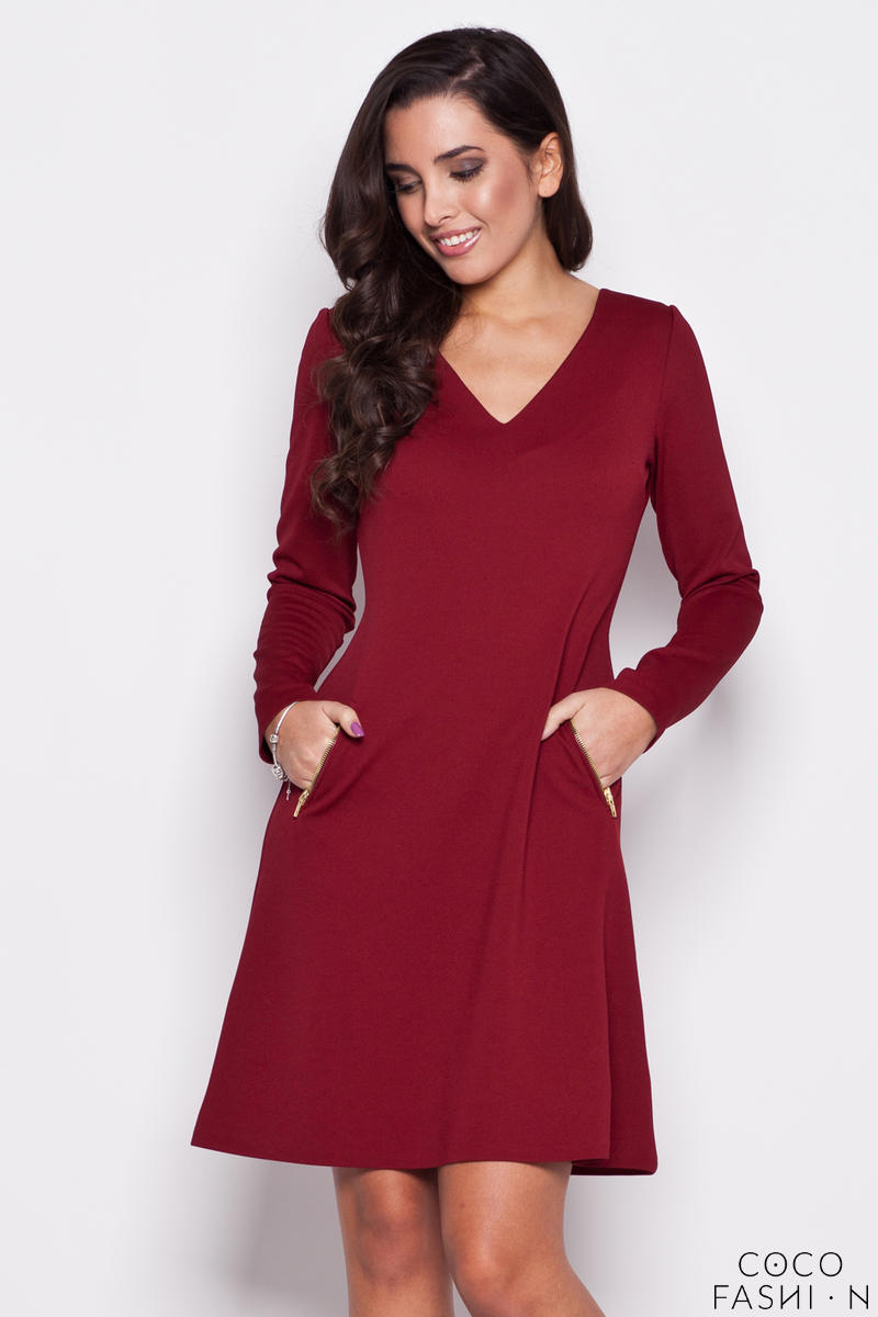 Claret V Neck Shift Dress with Side Pockets