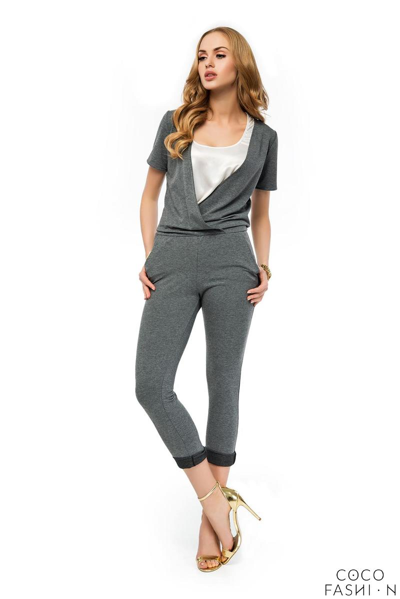 Dark Grey Slim Legs Short Sleeves Ladies Jumpsuit