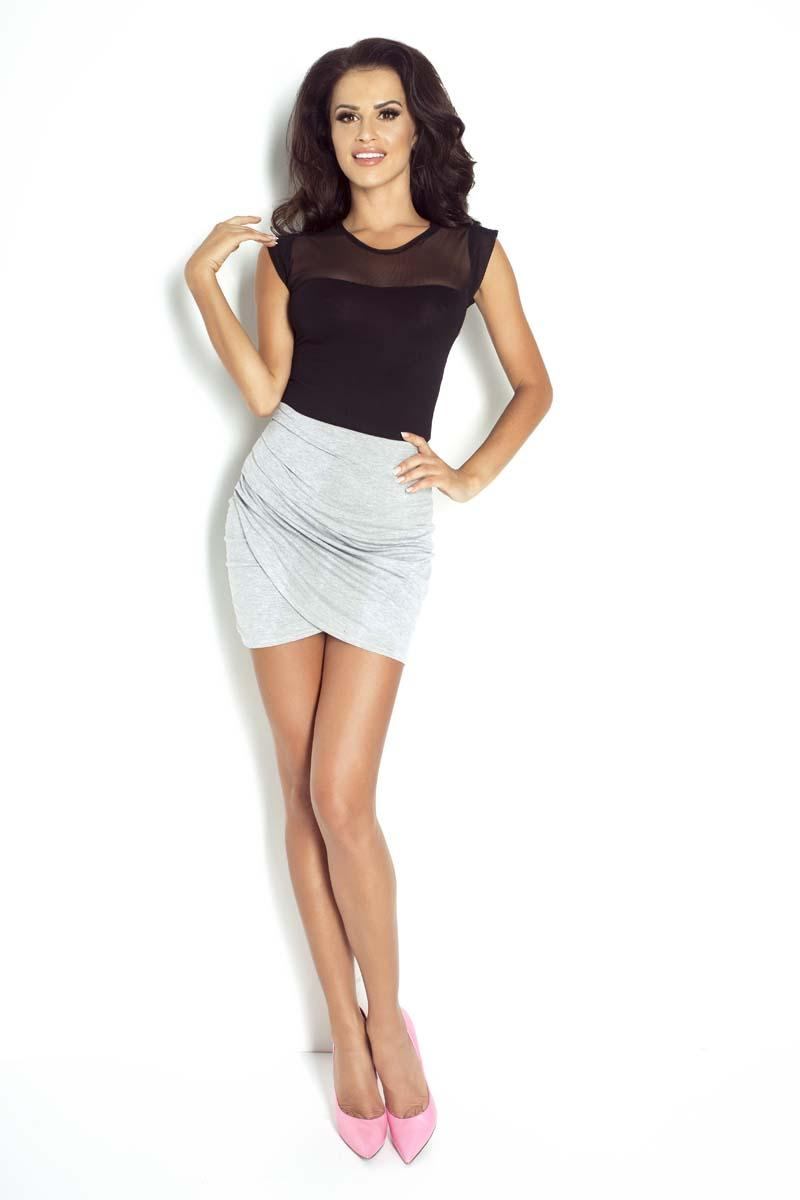 Grey Wrinkled Bodycon Mini Skirt