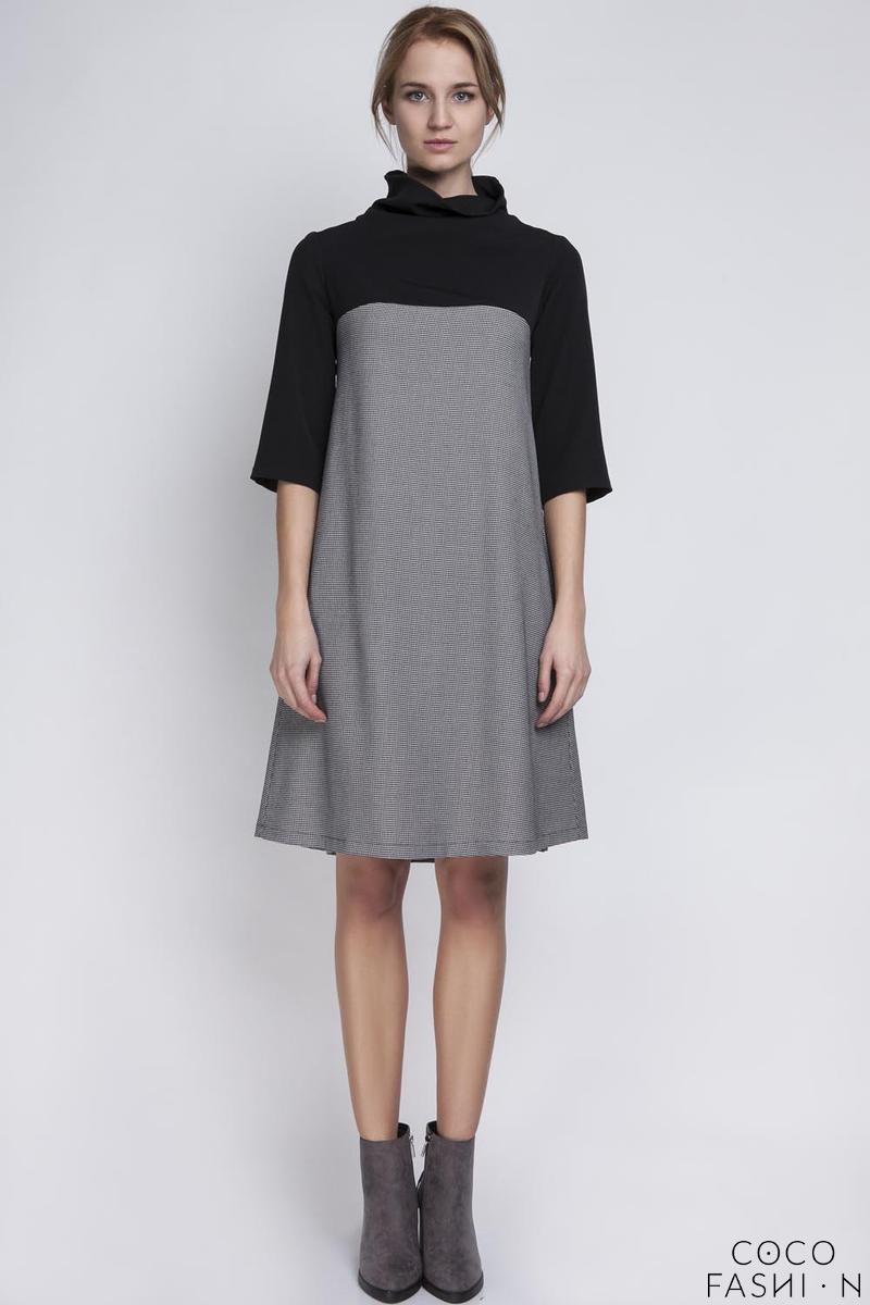 Houndstooth Tourtleneck Dress with Double Fold at The Back