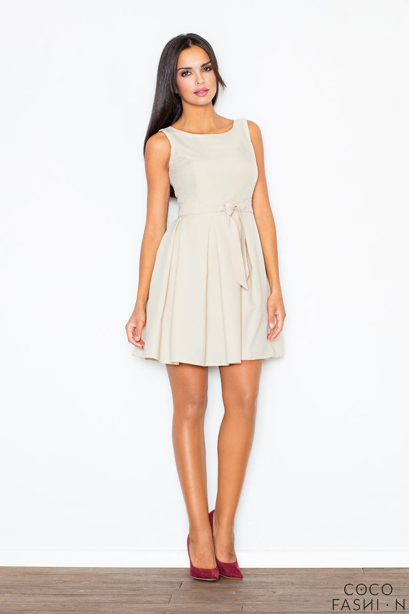 pleated-belted-sleeveless-beige-dress-with-seamed-top
