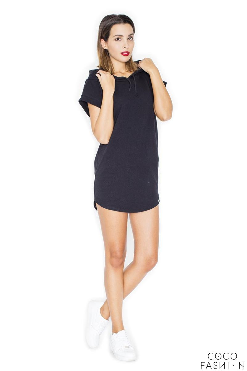 Black Simple Sport Style Hooded Dress