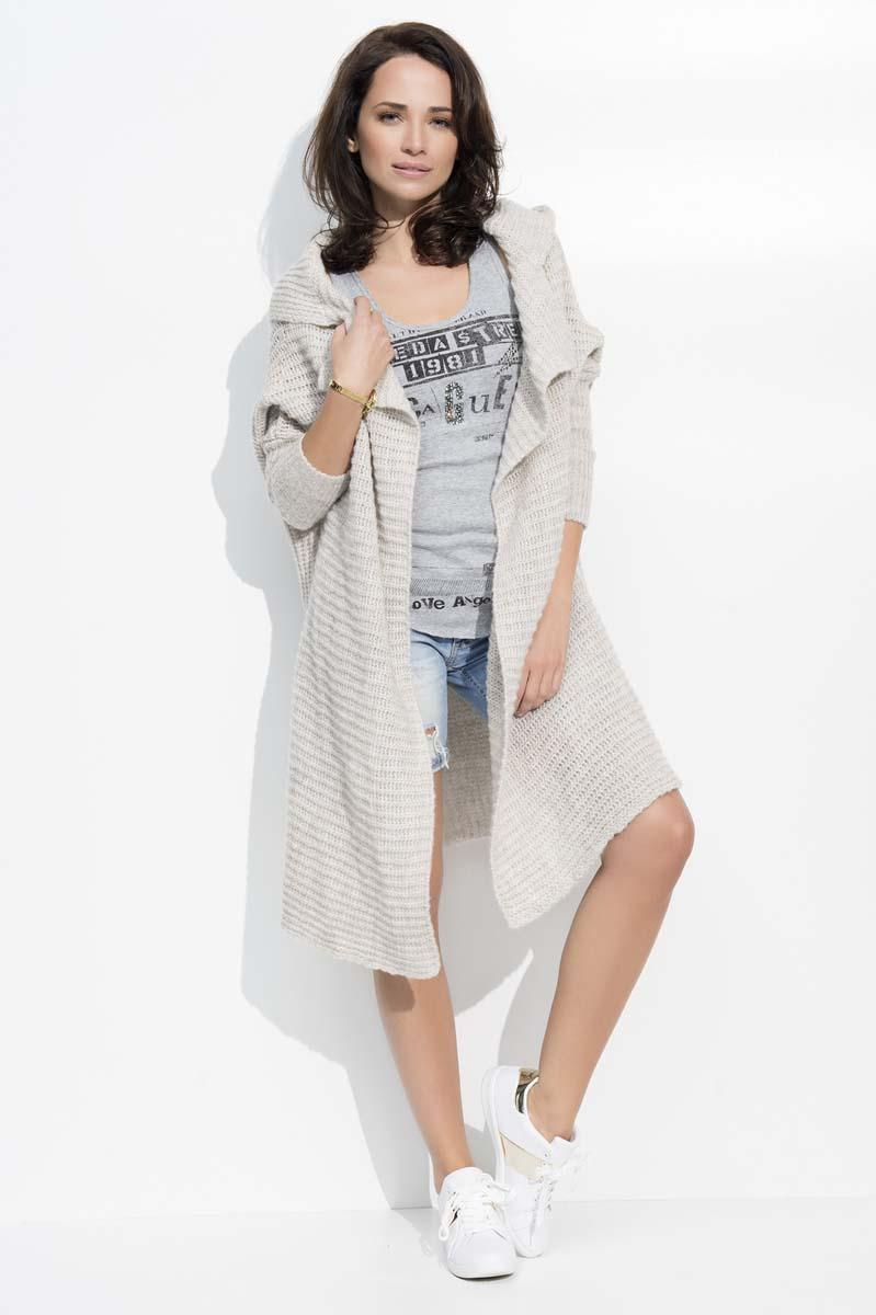 Beige Long Hooded Cardigan