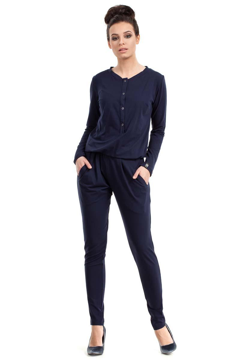 Dark Blue Casual Snaps Closure Jumpsuit