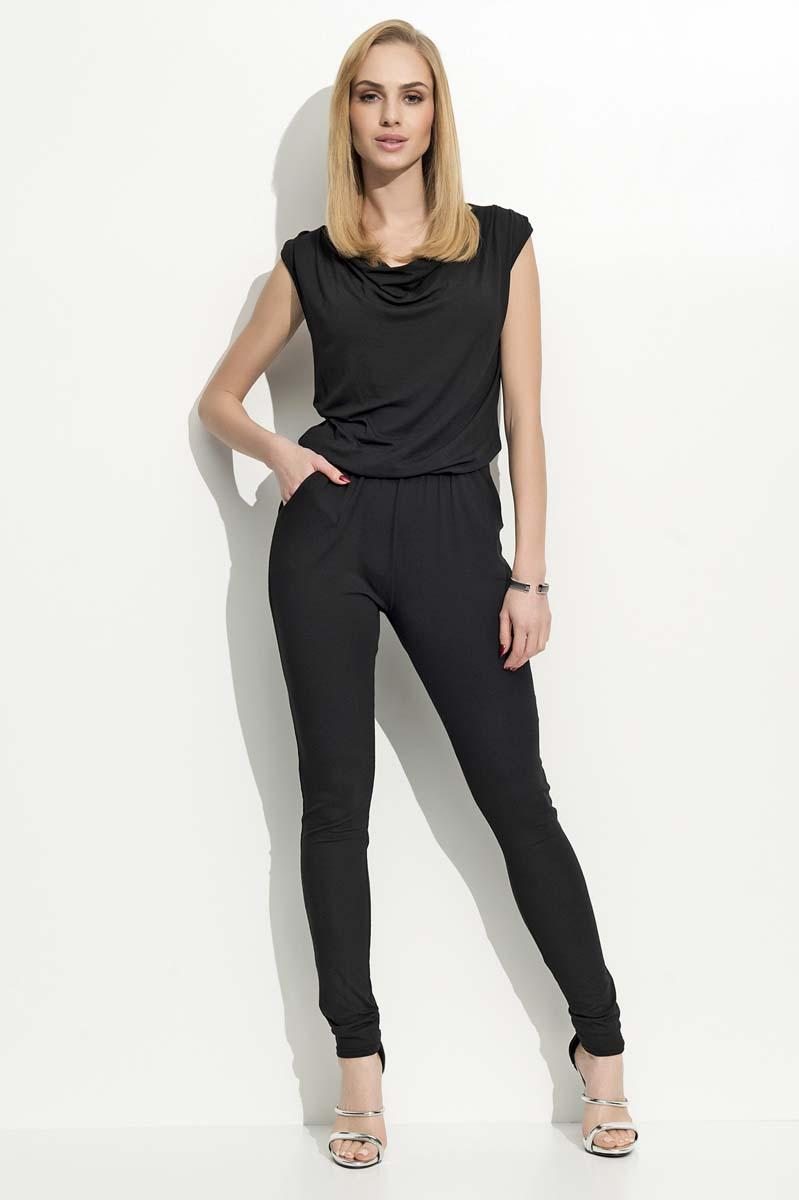 Black Long Slim Legs Ladies Jumpsuit